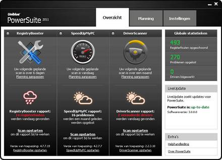 Overzichtelijk menu van PowerSuite