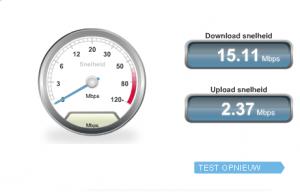 voorbeel resultaat internet speedtest
