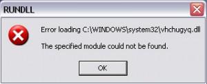 Voorbeeld van een rundll_error foutmelding