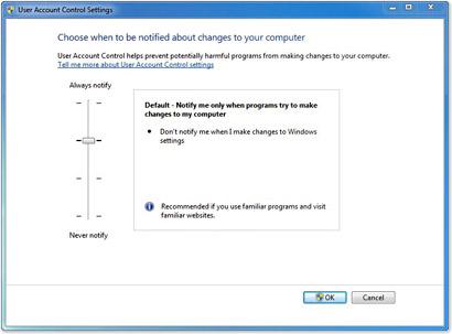 windows-7 UAC instellingen wijzigen